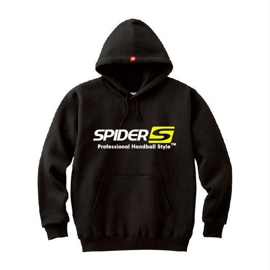 SPIDERハンドボールフーデッドパーカ SP-SPW01  ブラック×ホワイト×ネオンイエロー
