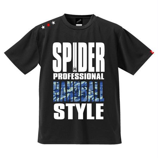 REAL SPIDERハンドボールTシャツ  SP-T01   ブラック×迷彩柄ブルー