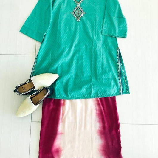 Indian fabric Tunic [GREEN] INDIA