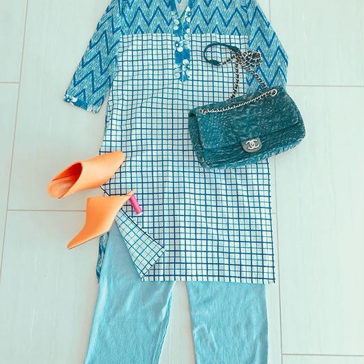 Malaysian BATIK DRESS [BLUE]