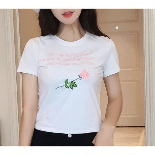 ROSE刺繍Tシャツ