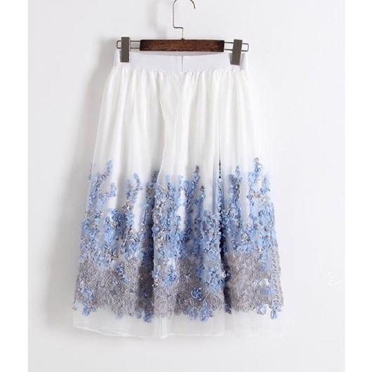 立体フラワーシフォンスカート