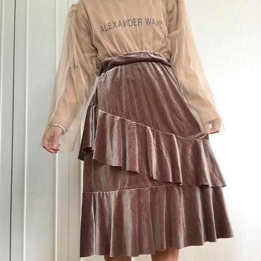 ベルベットラッフルミディスカート