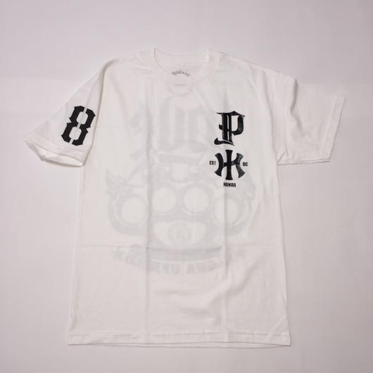 "POLY LOVE HAWAII ""HAWAIIAN KNUCLE"" WHT/BLK TEE"
