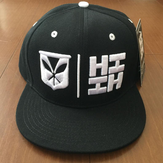 "HAWAII'S FINEST ""SIMPLE LOGO"" SNAP BACK HAT  BLK/WHT"