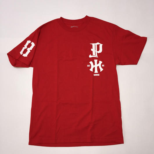 "POLY LOVE HAWAII ""HAWAIIAN KNUCLE"" RED/WHT TEE"