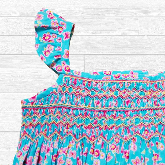 エメラルドカラーのスモッキング刺繍ワンピース(95-100cm)
