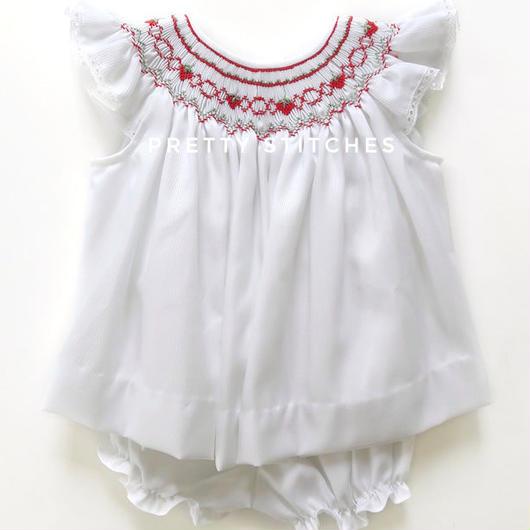 イチゴのスモッキング刺繍ワンピース・パンツ付(60-70cm)