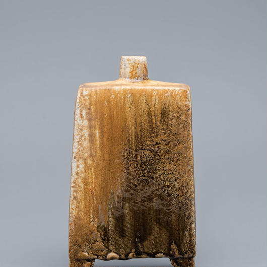 No.8:YOHEN Natural Ash Glaze Rectungular Vase「窯変灰被扁壷(足付扁壺)」