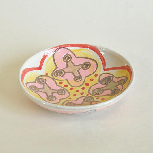 中皿|ピンクの花