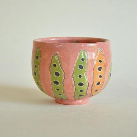 豆の抹茶茶碗|ピンク