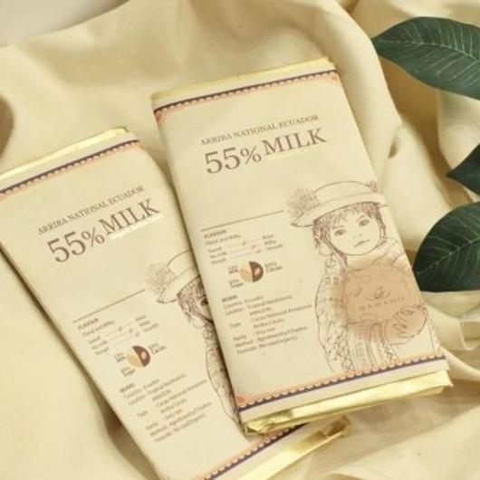 【ママノチョコレート】ママノカカオレットタブレット 55%ダークミルク,アリバナショナルエクアドル