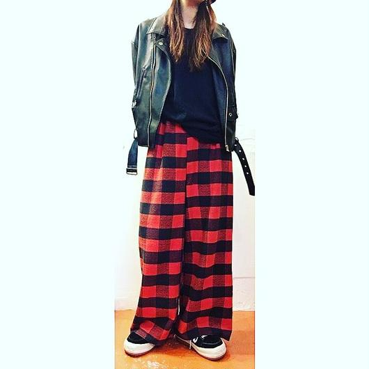 チェック WIDE PANTS/red