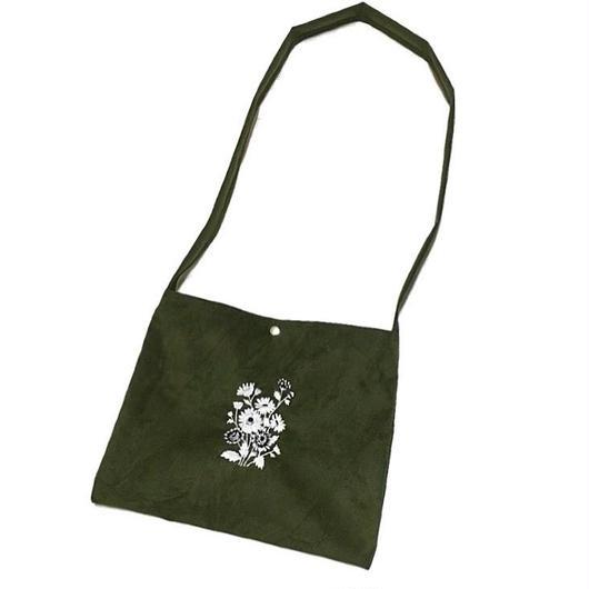 フラワー刺繍 スエード サコッシュバッグ/モスグリーン