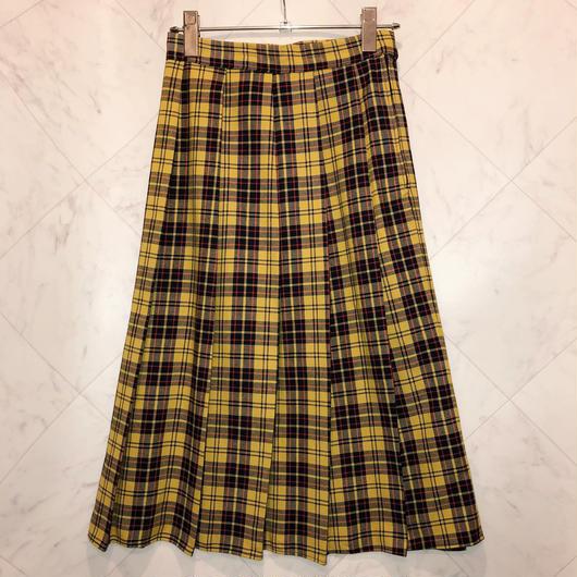 タータンチェック  プリーツスカート/yellow