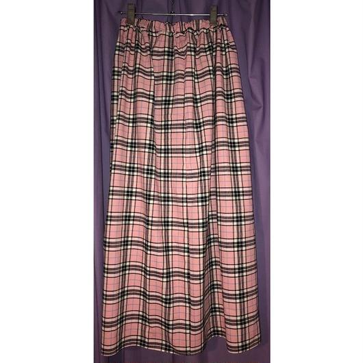 タータンチェック  フレアロングスカート/pink
