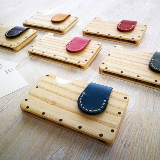 a card case ホワイトアッシュ6種 木と革の手作り名刺入れ