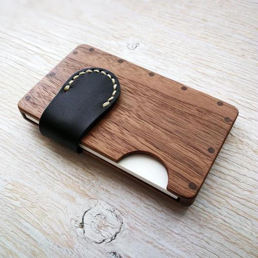 a card case ウォールナット3種  木と革の手作り名刺入れ