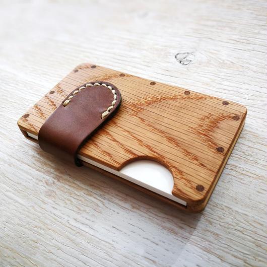 a card case オーク×ブラウン 木と革の手作り名刺入れ