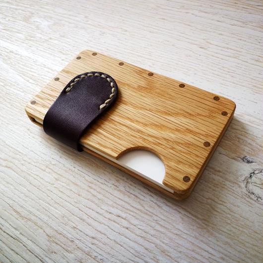 a card case オーク×パープル  木と革の手作り名刺入れ