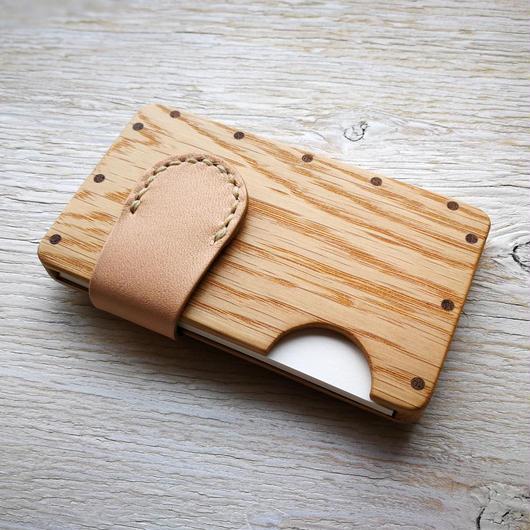 a card case オーク×ナチュラル  木と革の手作り名刺入れ