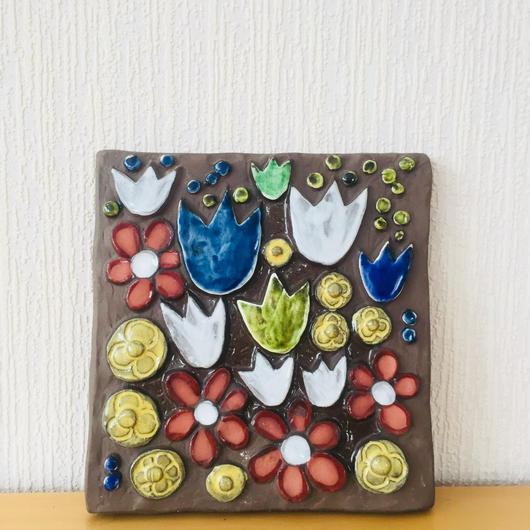 Jie Gantofta/ジィ ガントフタ/陶板/赤いお花とチューリップ