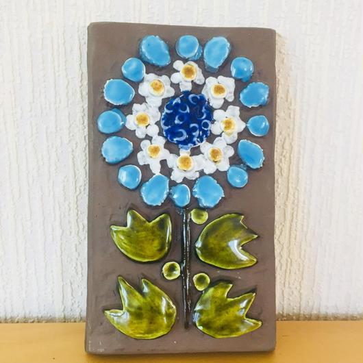 Jie Gantofta/ジィガントフタ/陶板/ブルーの大輪のお花柄