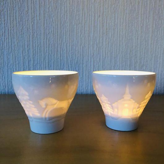 Rörstrand/ロールストランド/陶器のキャンドルホルダー/2個セット