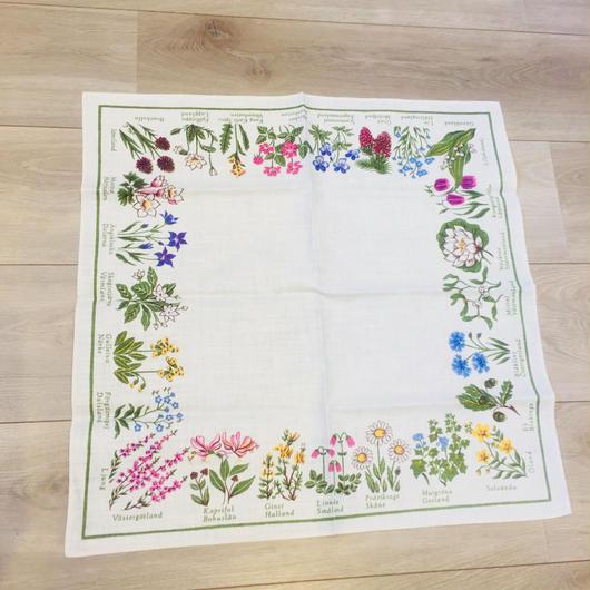 スウェーデン各地方のお花のテーブルセンター/リネン生地