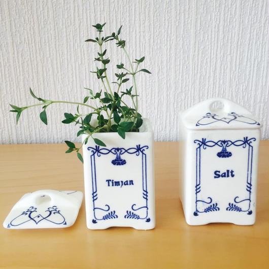 陶器の蓋付きスパイスポット/2個セット