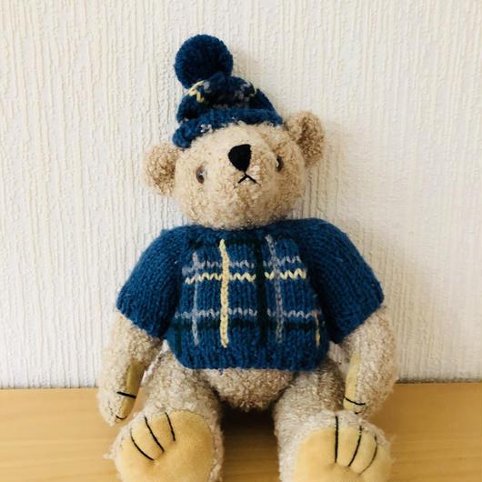 MICKI/ミッキ/TeddyBear/クマさんのぬいぐるみ/ヴインテージ/ブルーのチェックのセーターとお揃いの帽子