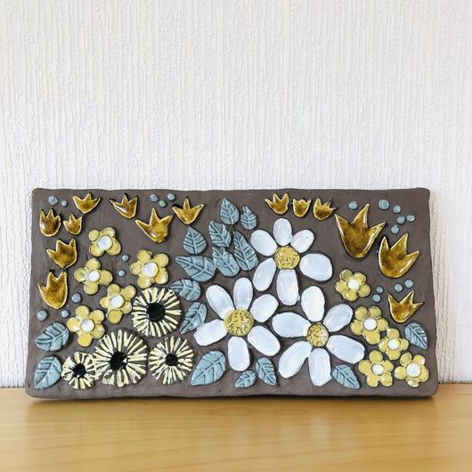 Jie Gantofta/ジィ ガントフタ/Annika Khilman/アニカ シールマン/陶板/チューリップと陶板いっぱいのお花