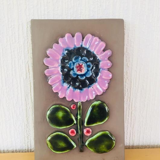Jie Gantofta/ジィガントフタ/陶板/ピンクの大輪のお花柄