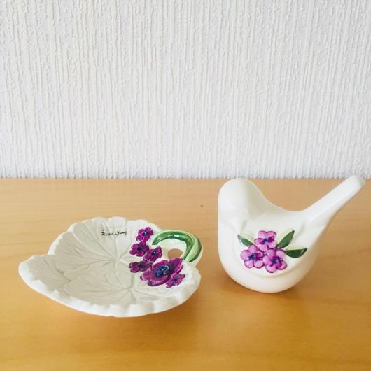 DECO/デコ/Rosa Ljung/ローサ ユング/小鳥と葉っぱの小物入れ2個セット