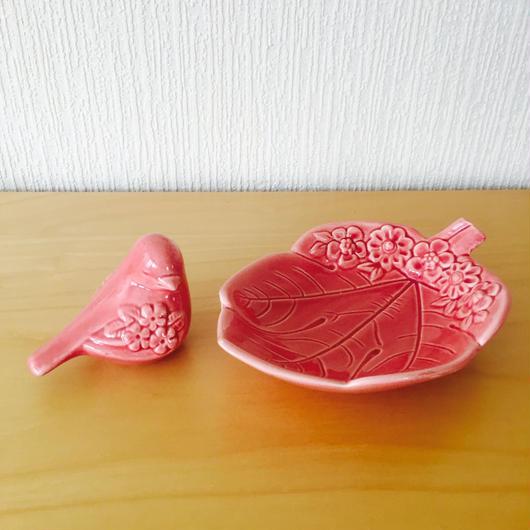 DECO/デコ/ピンクの小鳥と葉っぱのフィギュア/2個セット