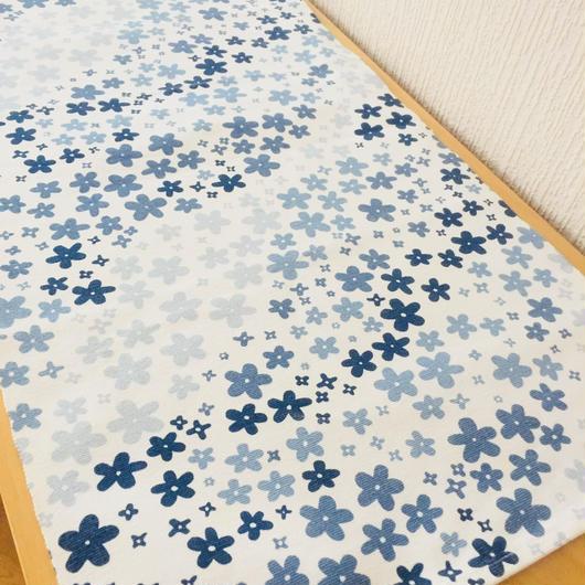テーブルランナー/青い小花柄/綿
