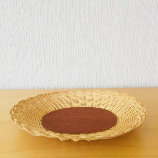 手編みのスタイリッシュなトレイ/籐とチーク(小)