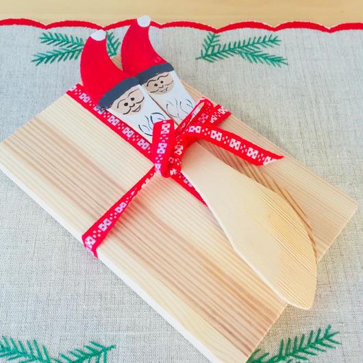 サンタさんバターナイフ付きパンプレート/木製/ハンドメイド/2枚、2本セット