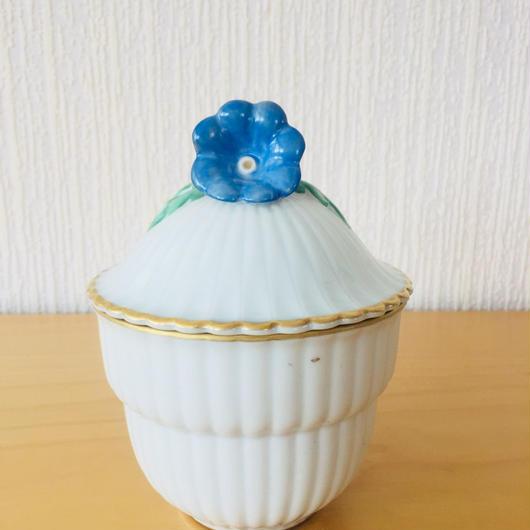 Hackefors/ハッケフオシュ/シュガーポット/手描きのブルーのお花