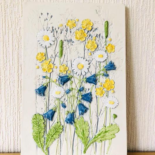 Jie Gantofta/ジィ ガントフタ/陶板/夏の野原に咲く花々