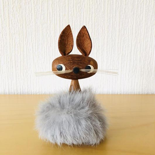 チーク製のモフモフなうさぎさん/グレー/(M.K様買い付け品)