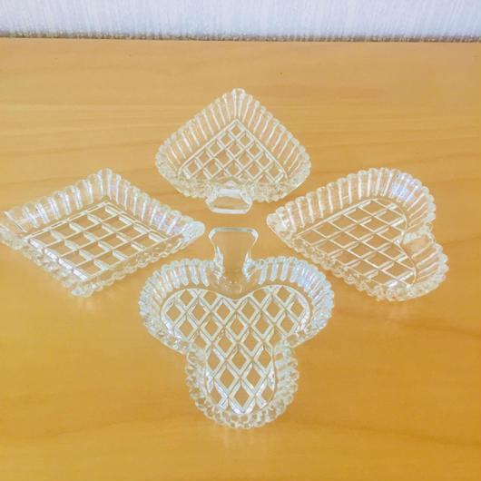 ヴィンテージガラスの小皿/4枚セット