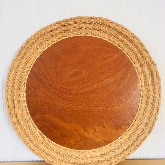 手編みのスタイリッシュなトレイ/籐とチーク(ラウンド特大)