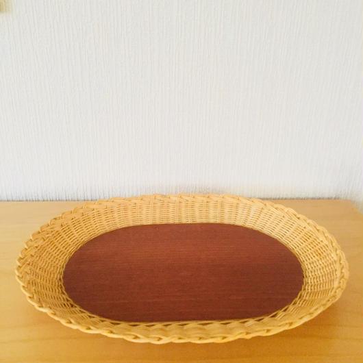 手編みのスタイリッシュなトレイ/籐とチーク(大)