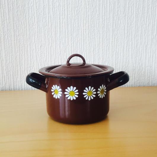 ステンシルのお花柄キャセロール/ホーロー製