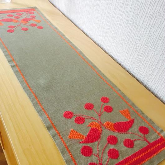 テーブルランナー/刺繍/リネン