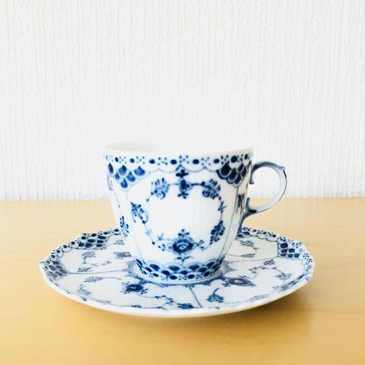 Royal Copenhagen/ロイヤルコペンハーゲン/Musselmalet/ブルーフルーテッド/フルレース/コーヒーカップ&ソーサー/CS-01
