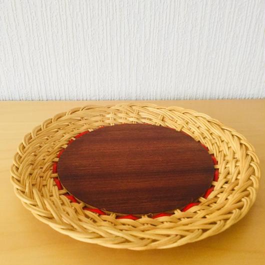 手編みのスタイリッシュなトレイ/籐とチーク/25cm