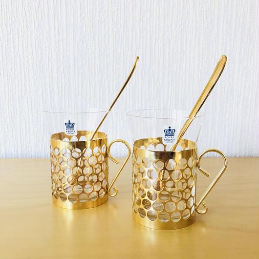 Royal Krona/ローヤルクローナ/アイリッシュコーヒーグラス/2個セット/ロングスプーン付き