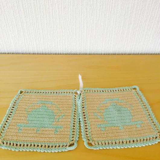 手編みのポットホールダー/2枚セット